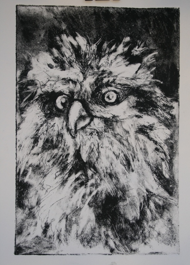 Fierce, etching, 6x8, 2016